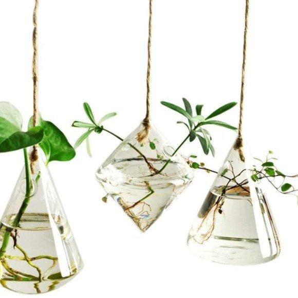 Anthropologie 3 Pcs Glass Plant Pots Planters Hang
